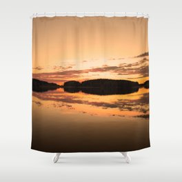Beautiful sunset - glowing orange - forest silhouette and reflection Shower Curtain