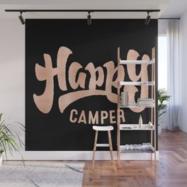 HAPPY CAMPER Rose Gold on Black Wall Mural