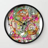 artsy Wall Clocks featuring Artsy Lines by Ingrid Padilla