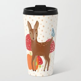 Brown Deer and Blue Butterfly Autumn Design Travel Mug