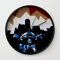 robocop Wall Clocks featuring RoboCop by iankingart