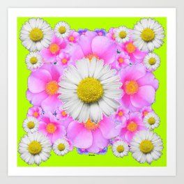 Chartreuse Green Color Shasta Daisies & Rose Pattern Art Print