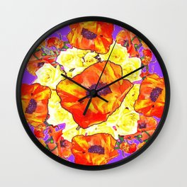 ABSTRACTED ORANGE POPPIES FLORAL LILAC YELLOW Wall Clock