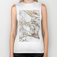 white marble Biker Tanks featuring Gold Marble by Jenna Davis Designs