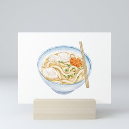 Watercolor Illustration of Chinese Cuisine - Rough Noodle with Squid Ball   鱼丸粗面 Mini Art Print