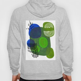 Modern Mid Century Fun Colorful Abstract Minimalist Painting Shapes & Patterns Swamp Monster Greens Hoody