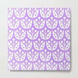 Mid Century Flower Pattern Lavender Metal Print