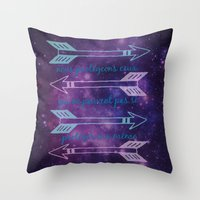 allison argent Throw Pillows featuring Argent Code by Captain Emily J.O.