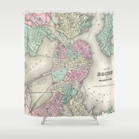 boston map Shower Curtains featuring Vintage Map of Boston Harbor (1857) by BravuraMedia
