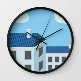Blue roofs Wall Clock
