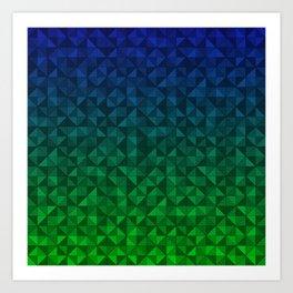 Blue Green Triangle Mosaic Art Print