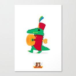 Tick-tock the Clockwork Croc Canvas Print