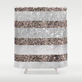 White Marble Rose Gold Glitter Stripe Glam #2 #minimal #decor #art #society6 Shower Curtain