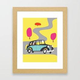 vintage car cartoon Framed Art Print