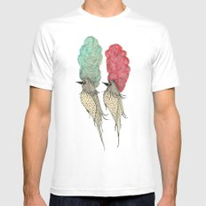 Bouffant Birds MEDIUM Mens Fitted Tee White