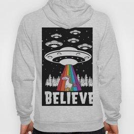 Believe in Aliens Funny Colorful Unicorn Art Hoody