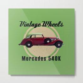 Vintage Wheels - Benz 540K Metal Print