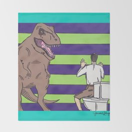 "Jurassic Park ""Died on the Shitter"" Throw Blanket"