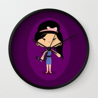 amy hamilton Wall Clocks featuring Amy by Sombras Blancas Art & Design