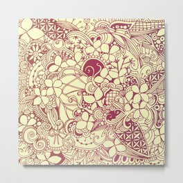 Yellow square, pink floral doodle, zentangle inspired art pattern Metal Print