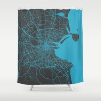 dublin Shower Curtains featuring Dublin map by Map Map Maps