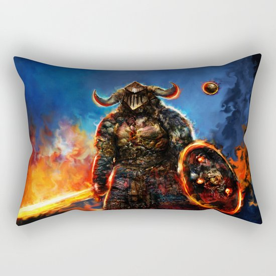 viking and his droid Rectangular Pillow