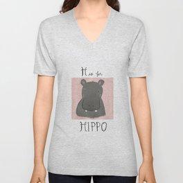 H is for Hippo Unisex V-Neck