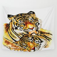 tigers Wall Tapestries featuring Tigers by DrewzDesignz