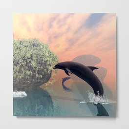 Playing and jumping dolphin Metal Print