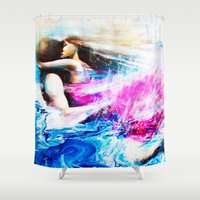 swimming Shower Curtains featuring Swimming by Catherine Bayliss