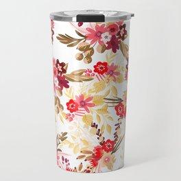 Pastel pink red brown modern hand drawn fall floral illustration Travel Mug
