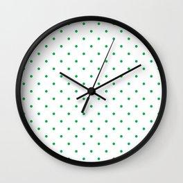 Small Green Polka Dots Wall Clock