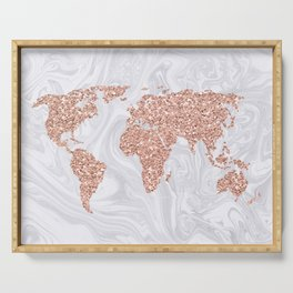 Rose Gold Glitter World Map on White Marble Serving Tray