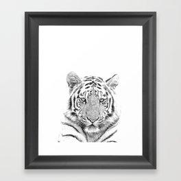 Black and white tiger Framed Art Print