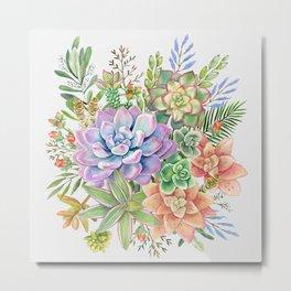 Watercolor Succulent #53 Metal Print