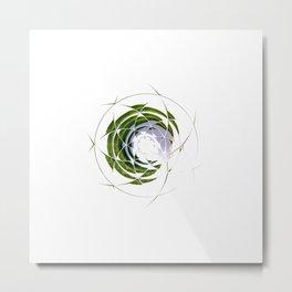Olive Leaves in Circle Metal Print