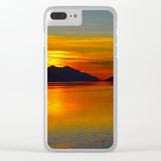 Alaskan Sunset Silhouette - Turnagain Arm Clear iPhone Case