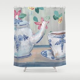 Blue & White china teapot Shower Curtain