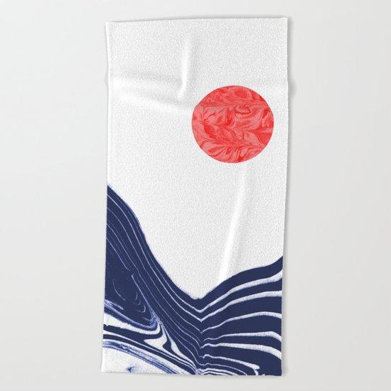 Furoshi - spilled ink marble water wave painting sun sea waves water aqua seaside abstract minimal  Beach Towel
