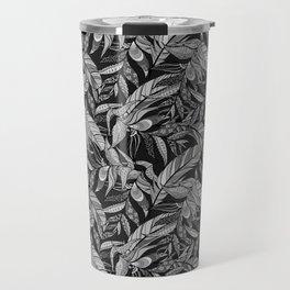 Black and White Feathers Travel Mug