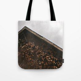 Camouflage - Red Leaves on Barn Tote Bag