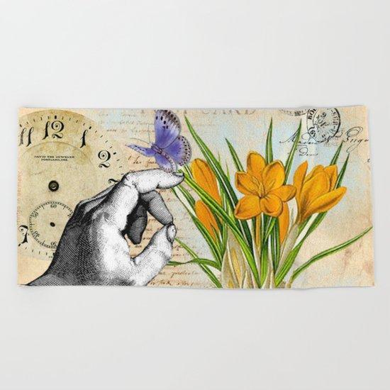 Vintage Crocus Flower #10 Beach Towel