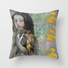 One wish Goldfish Throw Pillow