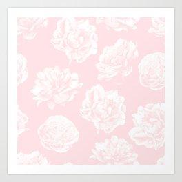 Pink Roses in Flamingo Pink Art Print