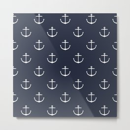 Yacht style. Anchor. Navy blue. Metal Print