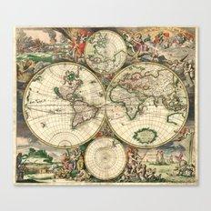 Old map of world hemispheres (enhanced) Canvas Print