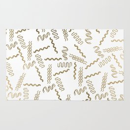 Geometrical white faux gold abstract retro 80's pattern Rug