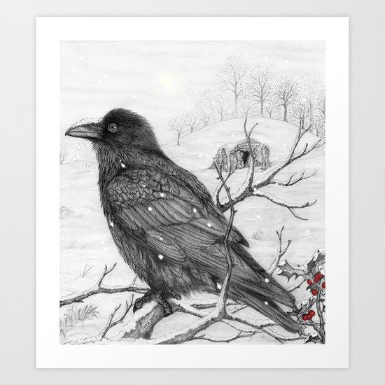 Midwinter Raven Art Print