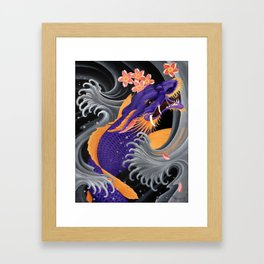 Purple Dragonkoi with Sakura Framed Art Print