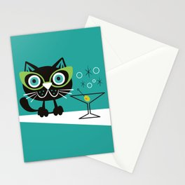 1950s Swank Mid Century Modern Martini Cocktail Kitty Cat Stationery Cards
